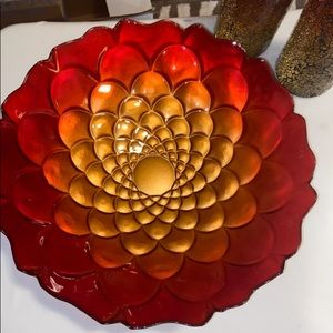 Large Red Bowl w/Candle Holders